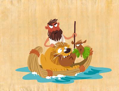 Michael Mantel Illustration für GEOlino extra Das alte Ägypten Archäologe Archäologie Fährmann Tiere Fluss Löwe Ziege Salat