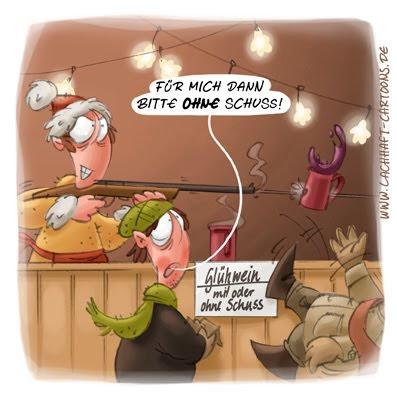 LACHHAFT Cartoon Weihnachtsmarkt Glühwein mit Schuss Alkohol Gewehr schießen Cartoons Witze witzig witzige lustige Bildwitze Bilderwitze Comic Zeichnungen lustig Karikatur Karikaturen Illustrationen Michael Mantel Spaß schwarzer Humor