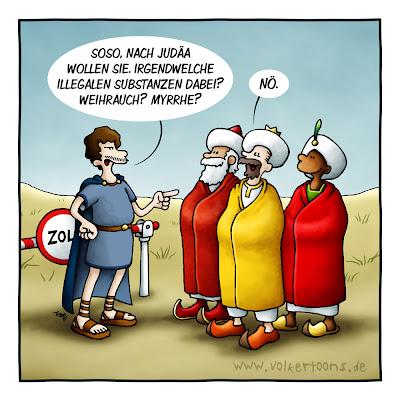 Der große LACHHAFT Adventskalender Volker Dornemann die heiligen drei Könige Weihnrauch Gold Myrrhe Zoll zu verzollen