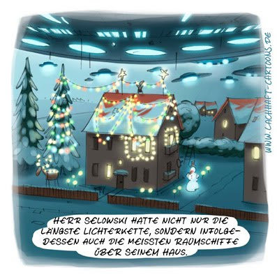 LACHHAFT AdventskalenderWeihnachten Weihnachtscartoon Herr Selowski Lichterketten Raumschiffe Invasion Independence Day Außerirdische Aliens Rekord Advent