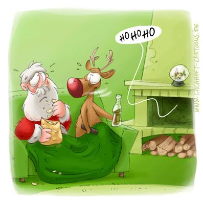 LACHHAFT Cartoon Weihnachten Weihnachtscartoon Weihnachtsmann Couchpotatoes Double Doppelgänger gruselig Verwirrung verwirrt Rudolph Rudolf Rentier Sofa Chips Cola Cartoons Witze witzig witzige lustige Bildwitze Bilderwitze Comic Zeichnungen lustig Karikatur Karikaturen Illustrationen Michael Mantel Spaß Humor