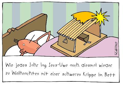 LACHHAFT Adventskalender Cartoon von Josef Schewe Weihnachten Krippe Bett Grippe krank Erkältung