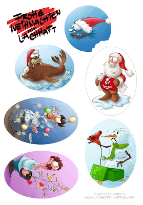 LACHHAFT Adventskalender Weihnachten Weihnachtscartoons Anhänger Aufkleber Sticker Karten Geschenke ausdrucken herunterladen download Cartoons von Michael Mantel Weihnachtsmann Herr Selowski Piranhas Mafia Christbaum Schneemann Wudolf das Weihnachtswalross