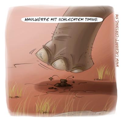 LACHHAFT Cartoon Maulwürfe mit schlechtem Timing Maulwurf Elefant Cartoons Witze witzig witzige lustige Bildwitze Bilderwitze Comic Zeichnungen lustig Karikatur Karikaturen Illustrationen Michael Mantel Spaß schwarzer Humor