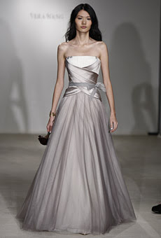 Gray Strapless With Organza Petals Throughout The Bodice And Skirt Satin Chiffon Overlay