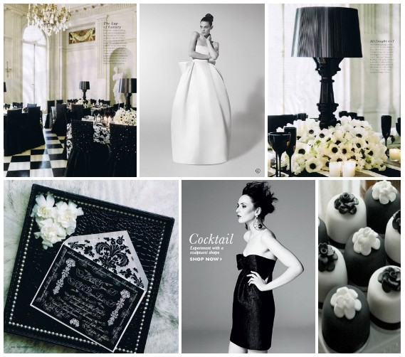 simple black and white wedding. green lack and white wedding