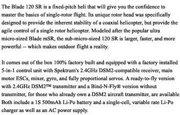 blade 120 sr rc helicopter description images