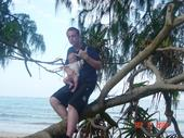 Bry and Daddy climbing trees