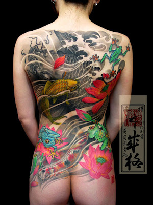Japanese back tattoos are way more subtle than this.