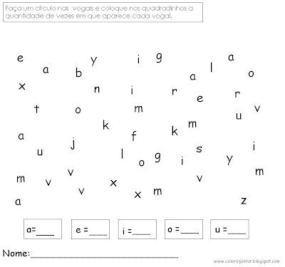 exercicios com vogais