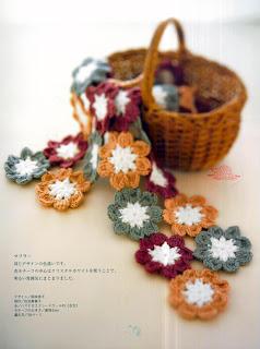 cachecol de croche flores