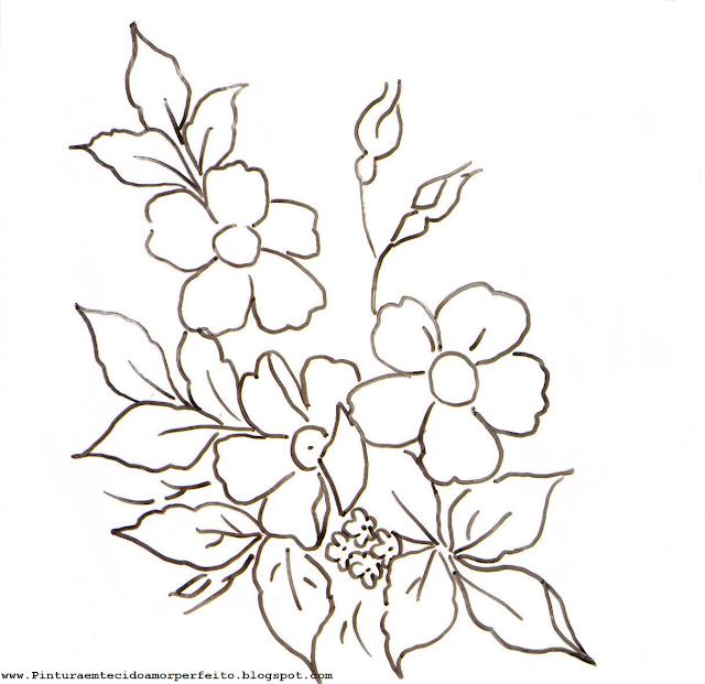 Riscos de flores para pintura em tecido.