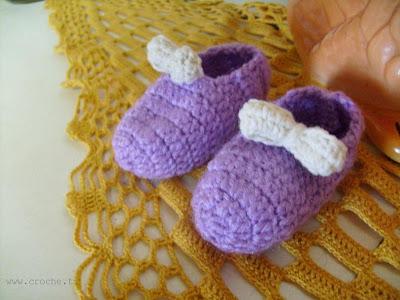 sapatinho de croche de lã