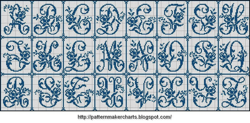 Ponto Cruz Letras  Alfabeto Vintage