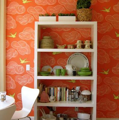 decoração com papel de parede