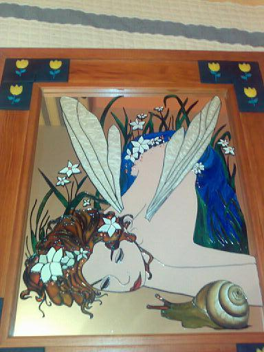 espejo pintado a mano