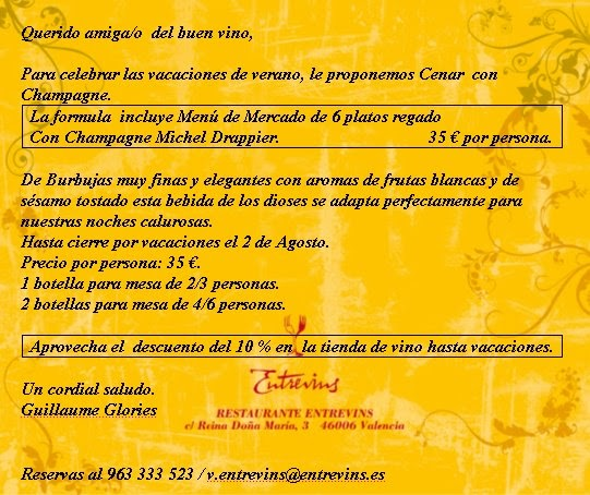 Damien leclerc sommelier entrevins restaurante valencia - Restaurante entrevins valencia ...