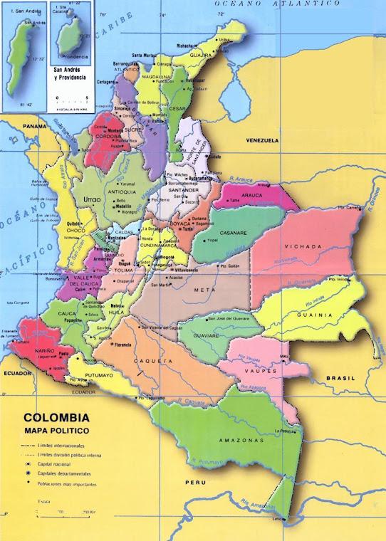 su escudo y bandera. mapa colombia