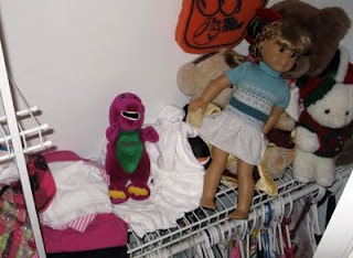 barney the dinosaur in the closet