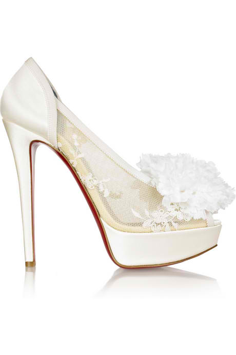 with Christian Louboutin Tsar 140 High Heel Satin Bridal Designer Shoes