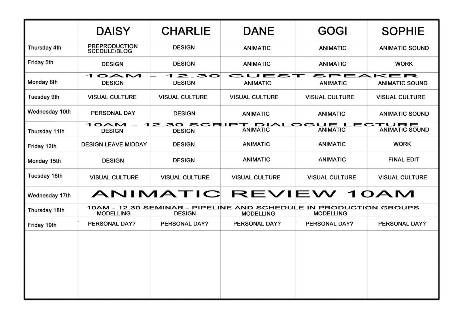 Unorganized Crime Pre Production Schedule
