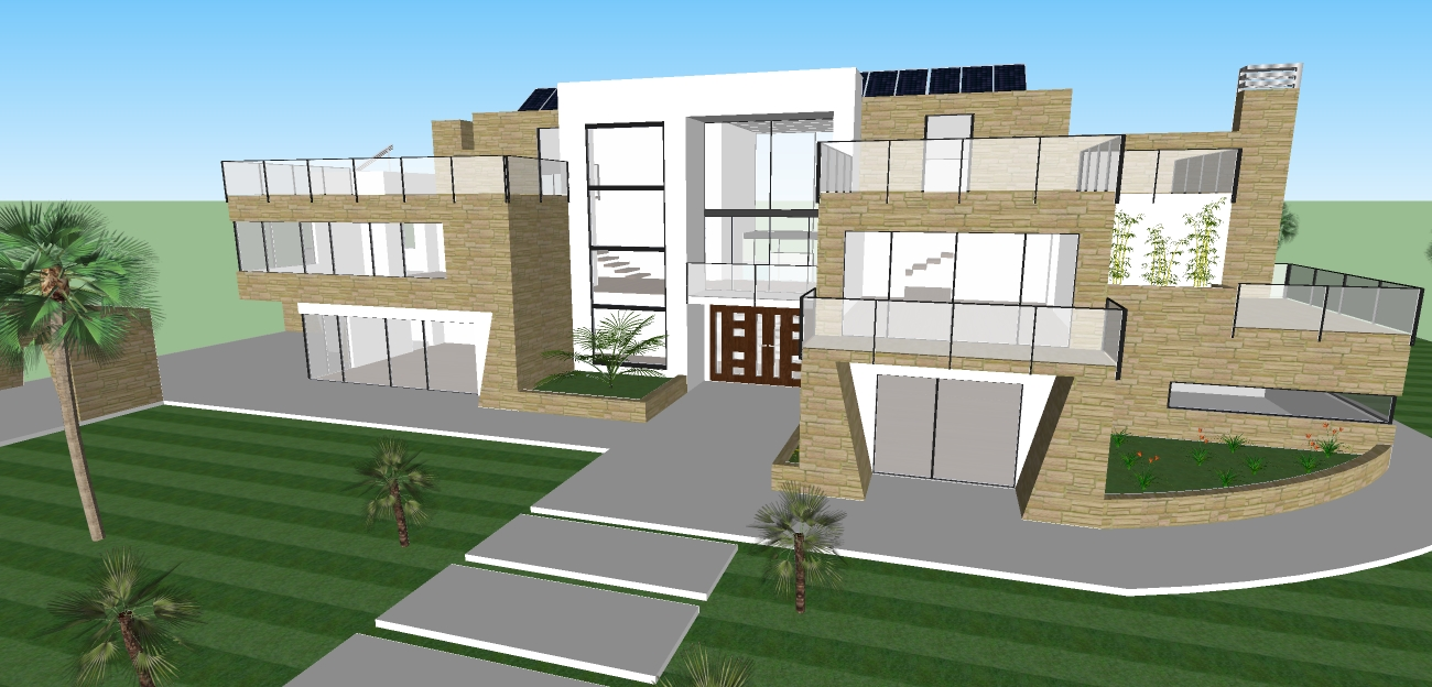 Modern design style house design for Pool design sketchup