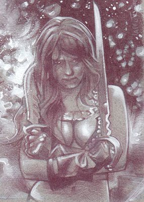 Red Sonja (Pencil study) ACEO Sketch Card by Jeff Lafferty