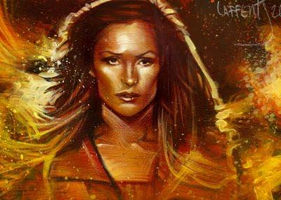 Framke Janssen as Phoenix, ACEO Sketch Card by Jeff Lafferty