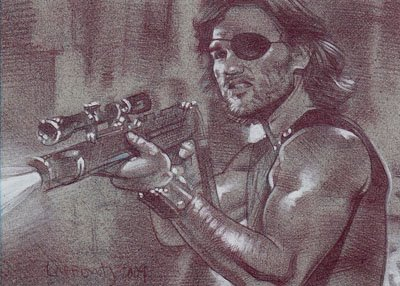 Snake Plissken (Pencil study) ACEO Sketch Card by Jeff Lafferty