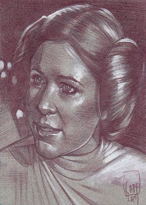 Carrie Fisher (Pencil study) ACEO Sketch Card by Jeff Lafferty