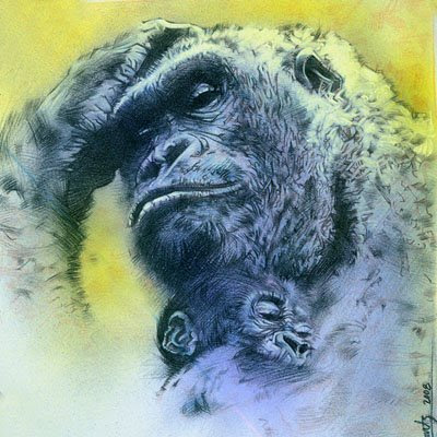 Gorilla Drawing by Jeff Lafferty