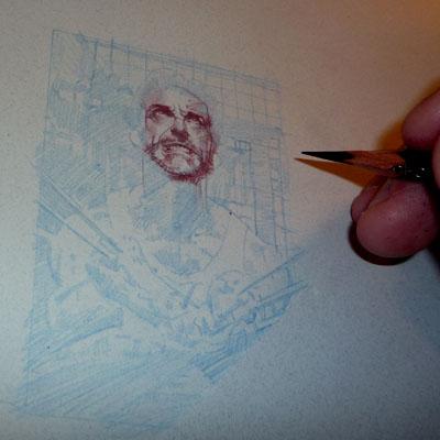 Wolverine in-progress ACEO Sketch Card by Jeff Lafferty
