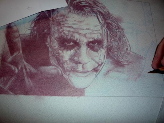 Joker Drawing in progress by Jeff Lafferty