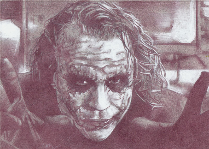 Heath Ledger as The Joker (Pencil study) Original Art by Jeff Lafferty