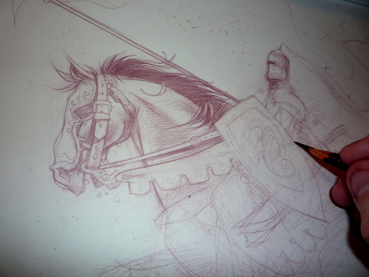Knight Sketch Original Art by Jeff Lafferty