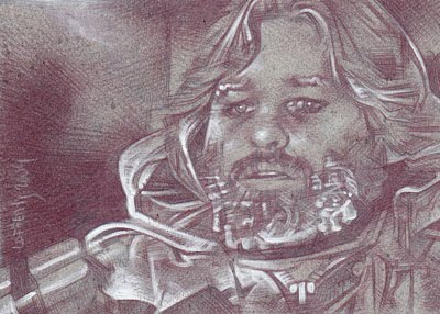Kurt Russell as MacReady (Pencil study) ACEO Sketch Card by Jeff Lafferty