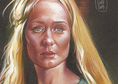 Miranda Otto as Eowyn, Original Art by Jeff Lafferty