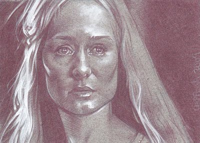 Miranda Otto as Eowyn (Pencil study) ACEO Sketch Card by Jeff Lafferty