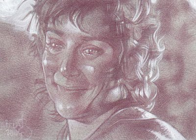 Elijah Wood as Frodo(Pencil study) ACEO Sketch Card by Jeff Lafferty