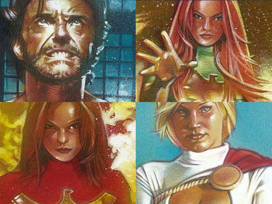 Wolverine, Phoenix and Power Girl - Original Art by Jeff Lafferty