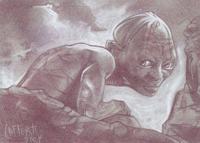 Gollum (Pencil study) ACEO Sketch Card by Jeff Lafferty
