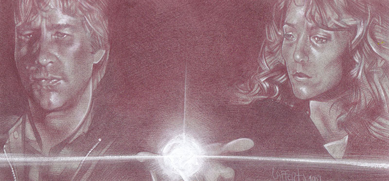 Jeff Bridges and Karen Allen, Starman (Pencil study) ACEO Sketch Card by Jeff Lafferty