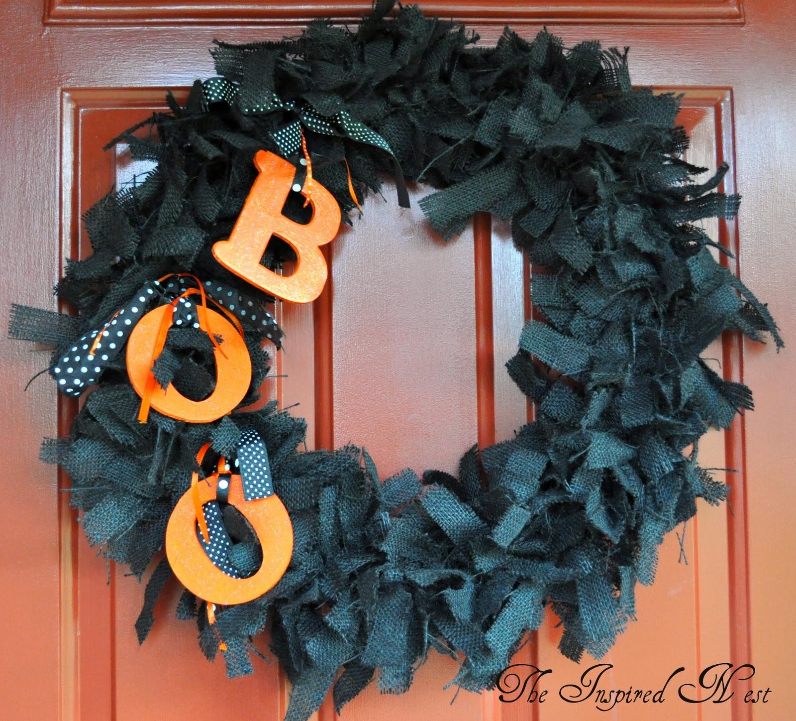 The Inspired Nest Burlap Halloween Wreaths