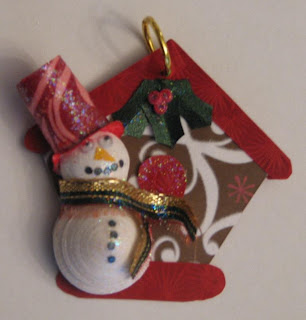 quilled snowman and birdhouse ornament