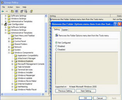 How to restore missing Folder Options in Windows XP