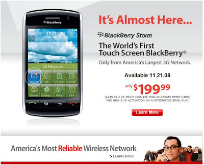 Verizon Wireless will release Blackberry Storm on 11 Nov 2008 at $199.99