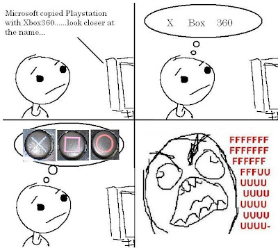 a cartoon show how they got XBox 360 name from PlayStation controller. The X button for X, the square button for Box and the round button for 360. So, it's XBox 360