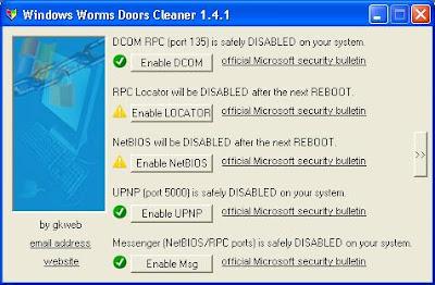 Close port with indows Worms Door Cleaner