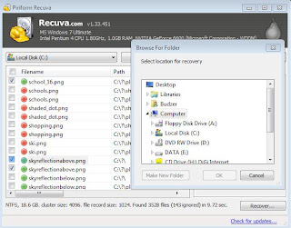 screenshot of recuva try to do some file recovery