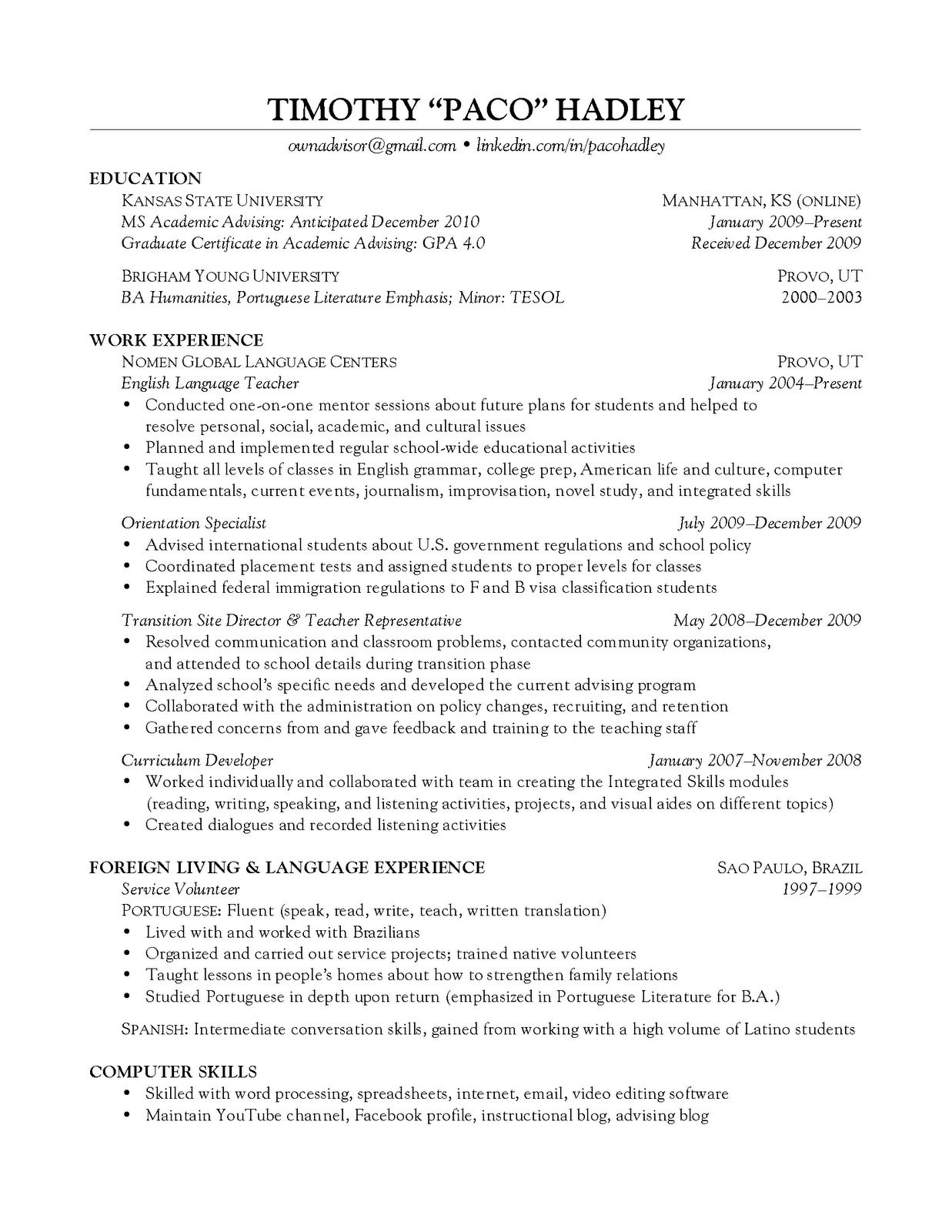 advising the advisor resume more